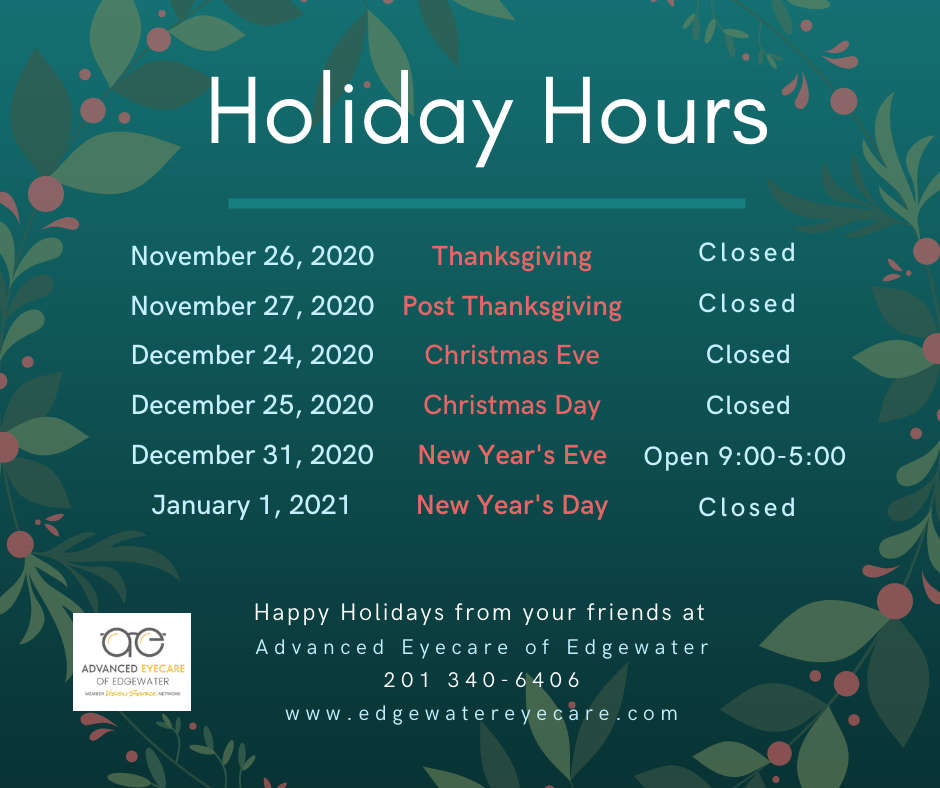 Holiday Hours for Advanced Eyecare of Edgewater 2020