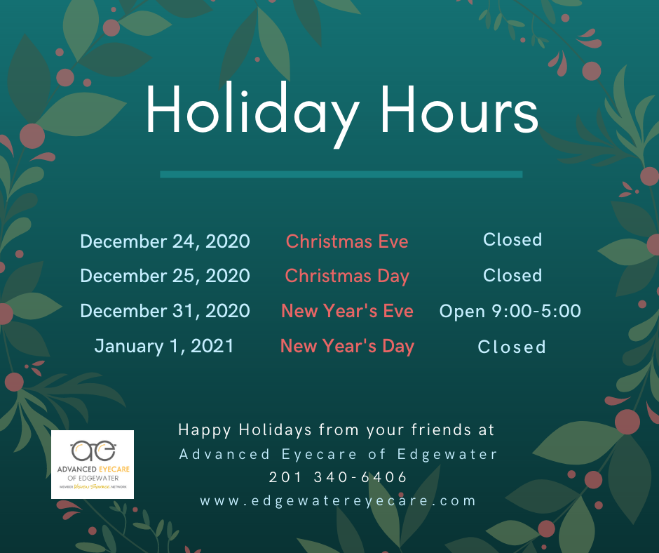 Advanced Eyecare of Edgewater Holiday Hours 2020